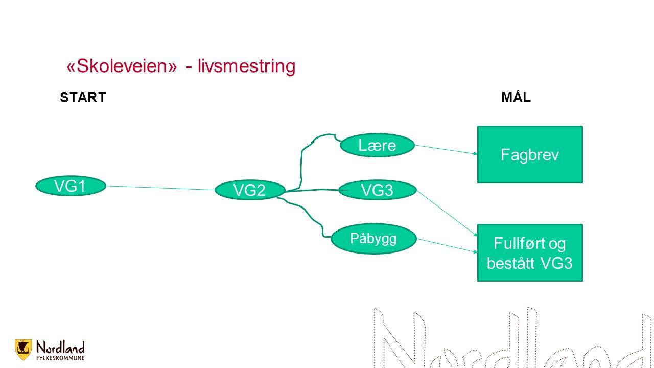 «Skoleveien» - livsmestring STARTMÅL VG1 VG2VG3 Lære Påbygg Fagbrev Fullført og bestått VG3