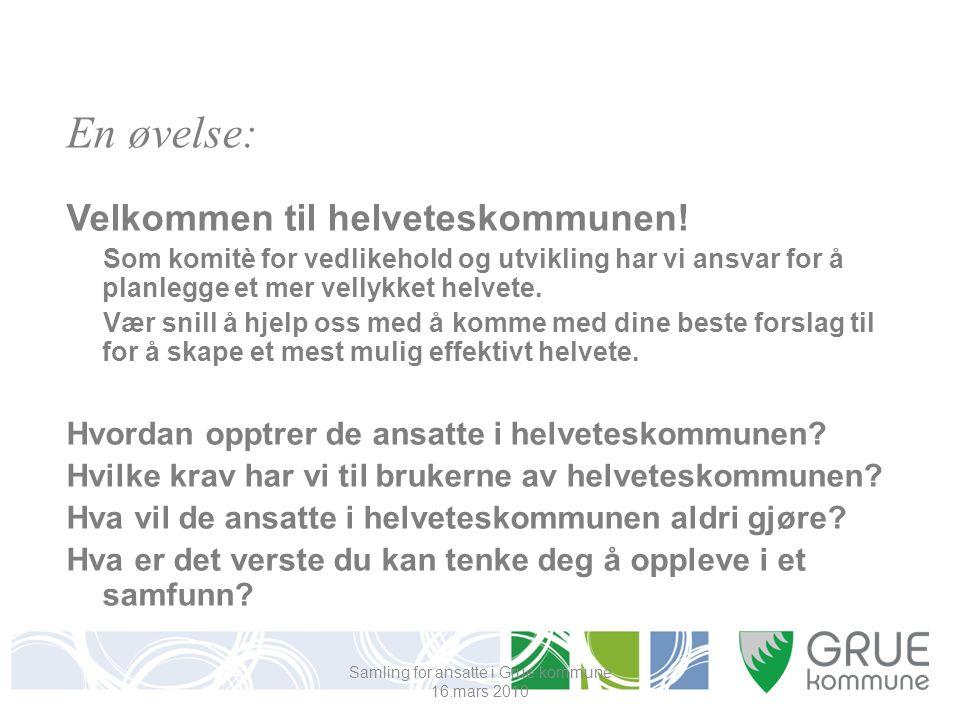 Samling for ansatte i Grue kommune 16.mars 2010 En øvelse: Velkommen til helveteskommunen.