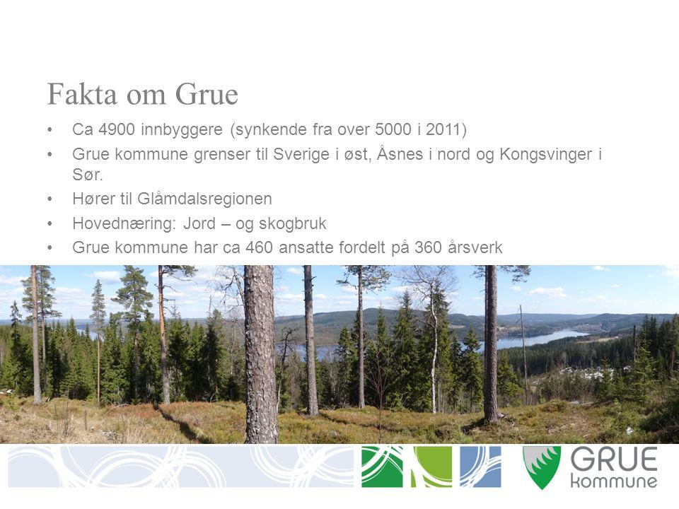 Fakta om Grue Ca 4900 innbyggere (synkende fra over 5000 i 2011) Grue kommune grenser til Sverige i øst, Åsnes i nord og Kongsvinger i Sør.