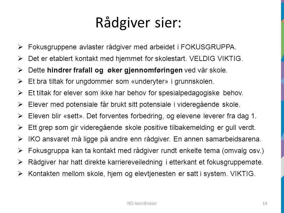 Rådgiver sier:  Fokusgruppene avlaster rådgiver med arbeidet i FOKUSGRUPPA.