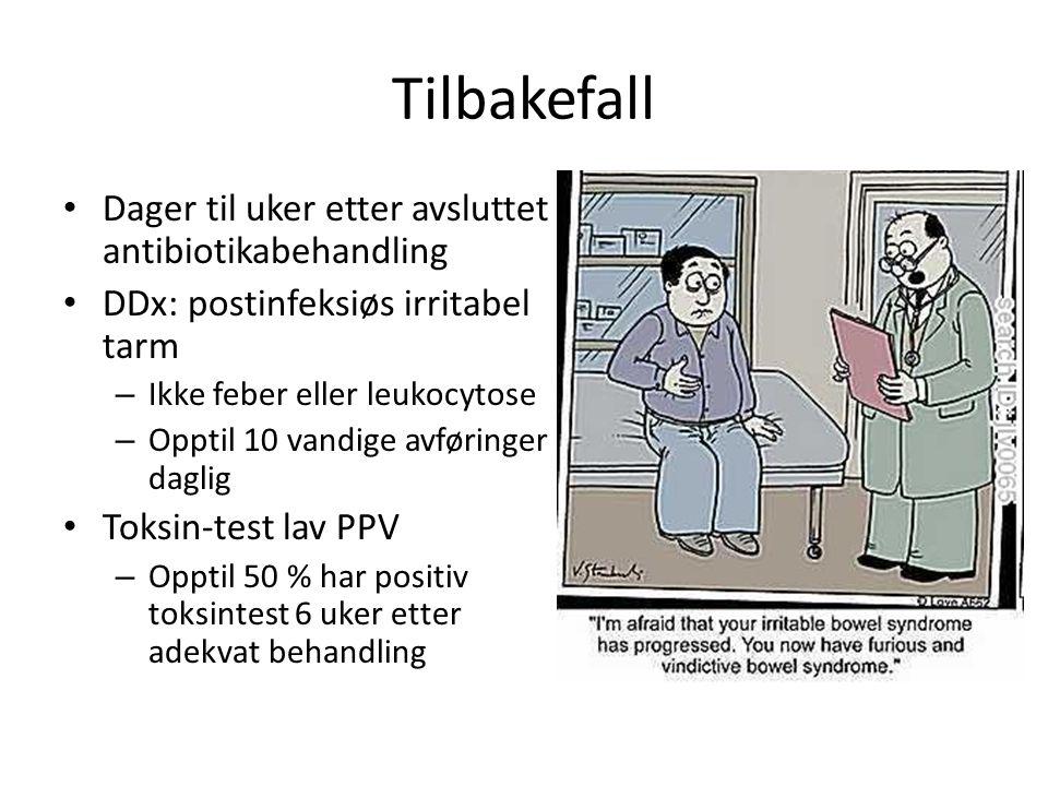 Tilbakefall Dager til uker etter avsluttet antibiotikabehandling DDx: postinfeksiøs irritabel tarm – Ikke feber eller leukocytose – Opptil 10 vandige