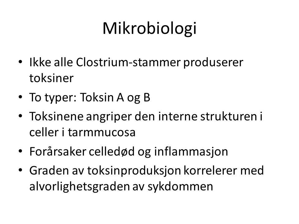 Mikrobiologi Ikke alle Clostrium-stammer produserer toksiner To typer: Toksin A og B Toksinene angriper den interne strukturen i celler i tarmmucosa Forårsaker celledød og inflammasjon Graden av toksinproduksjon korrelerer med alvorlighetsgraden av sykdommen