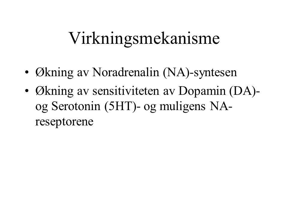 Virkningsmekanisme Økning av Noradrenalin (NA)-syntesen Økning av sensitiviteten av Dopamin (DA)- og Serotonin (5HT)- og muligens NA- reseptorene
