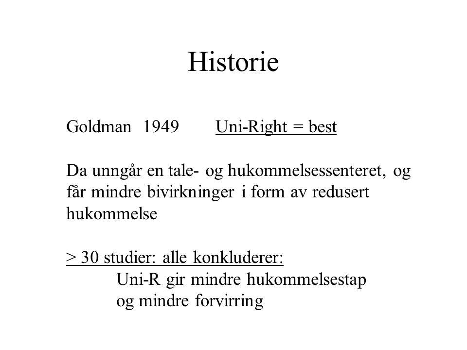 Historie Goldman 1949 Uni-Right = best Da unngår en tale- og hukommelsessenteret, og får mindre bivirkninger i form av redusert hukommelse > 30 studier: alle konkluderer: Uni-R gir mindre hukommelsestap og mindre forvirring