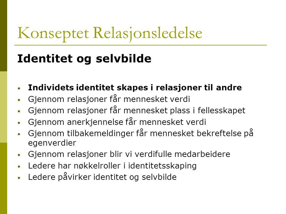 Konseptet Relasjonsledelse Identitet og selvbilde Individets identitet skapes i relasjoner til andre Gjennom relasjoner får mennesket verdi Gjennom re