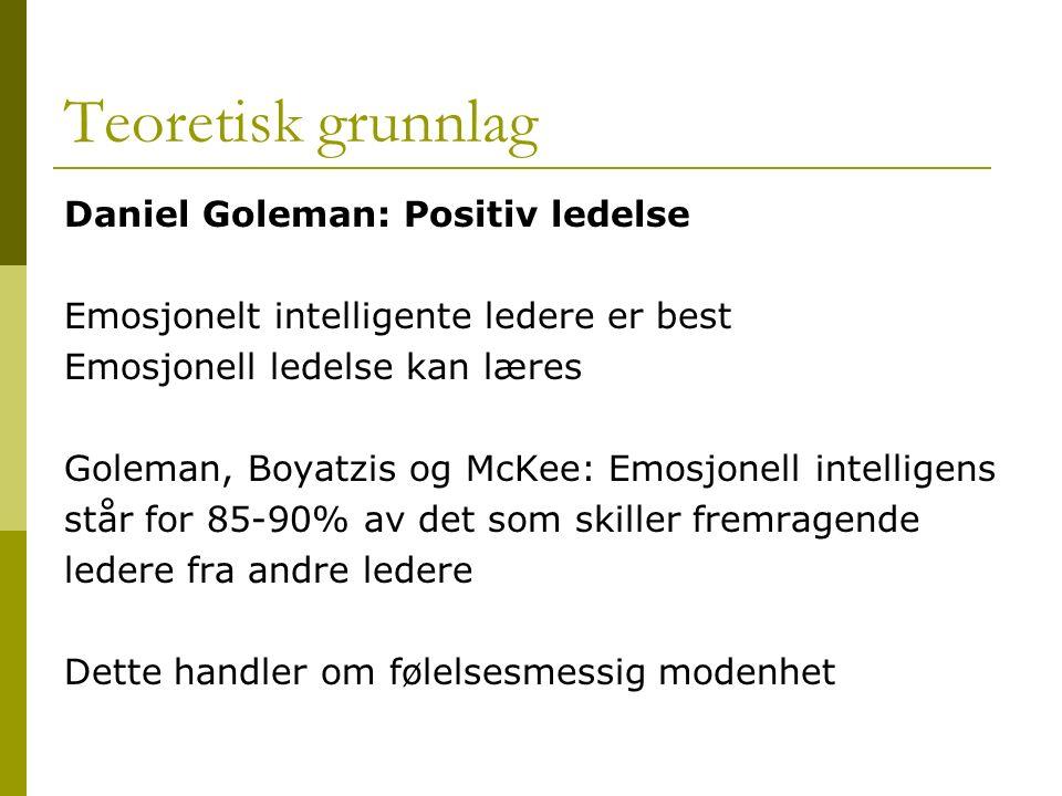 Teoretisk grunnlag Daniel Goleman: Positiv ledelse Emosjonelt intelligente ledere er best Emosjonell ledelse kan læres Goleman, Boyatzis og McKee: Emo