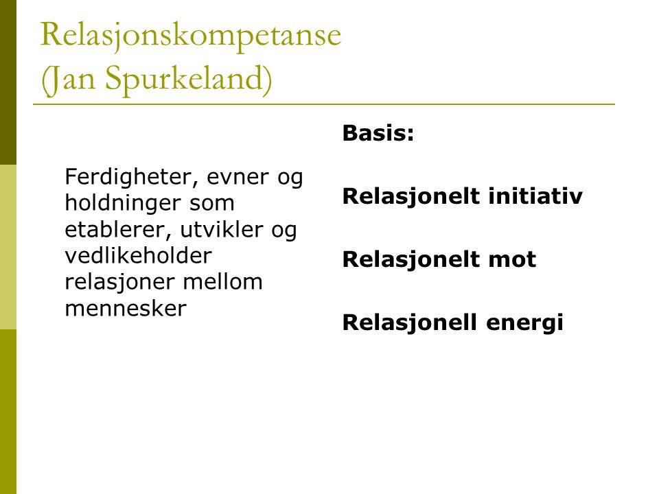 Relasjonskompetanse (Jan Spurkeland) Ferdigheter, evner og holdninger som etablerer, utvikler og vedlikeholder relasjoner mellom mennesker Basis: Rela