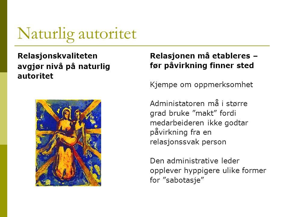 Naturlig autoritet Relasjonskvaliteten avgjør nivå på naturlig autoritet Relasjonen må etableres – før påvirkning finner sted Kjempe om oppmerksomhet
