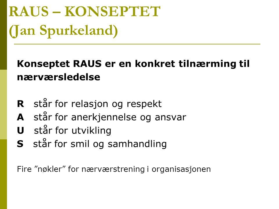 RAUS – KONSEPTET (Jan Spurkeland) Konseptet RAUS er en konkret tilnærming til nærværsledelse R står for relasjon og respekt A står for anerkjennelse o