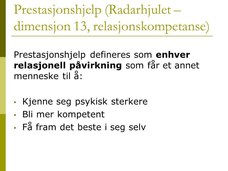 Prestasjonshjelp (Radarhjulet – dimensjon 13, relasjonskompetanse) Prestasjonshjelp defineres som enhver relasjonell påvirkning som får et annet menne