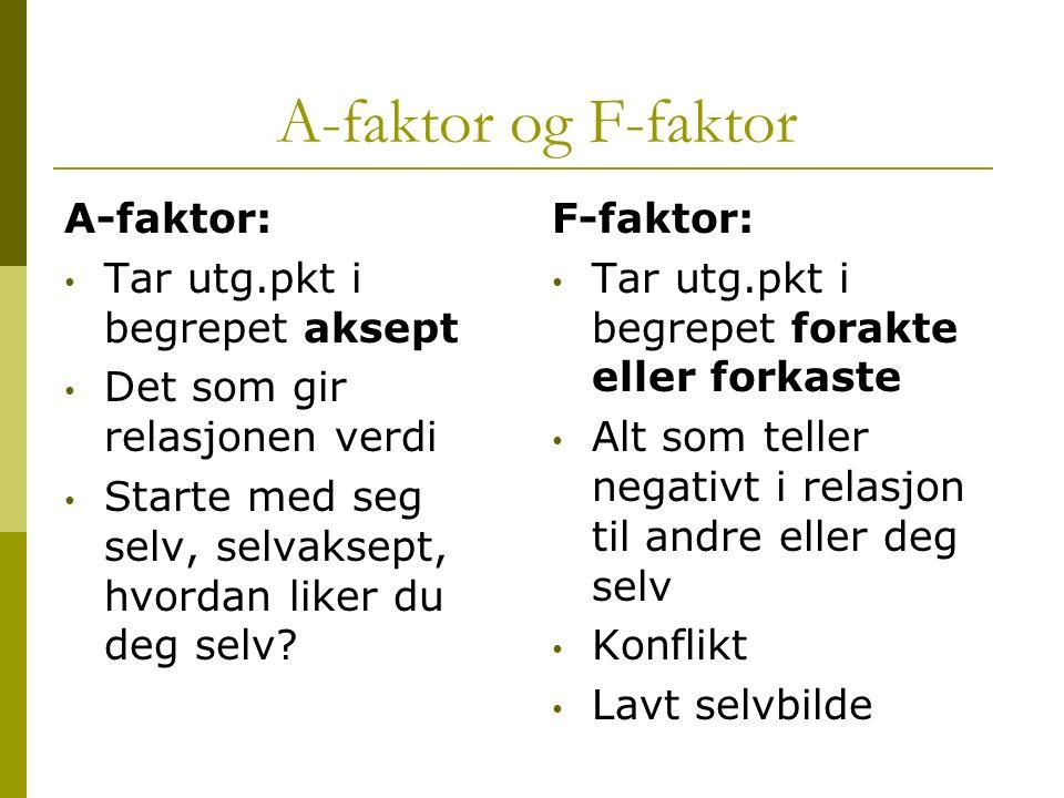 A-faktor og F-faktor A-faktor: Tar utg.pkt i begrepet aksept Det som gir relasjonen verdi Starte med seg selv, selvaksept, hvordan liker du deg selv?
