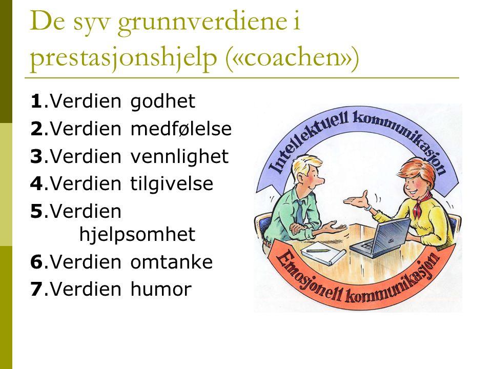De syv grunnverdiene i prestasjonshjelp («coachen») 1.Verdien godhet 2.Verdien medfølelse 3.Verdien vennlighet 4.Verdien tilgivelse 5.Verdien hjelpsom
