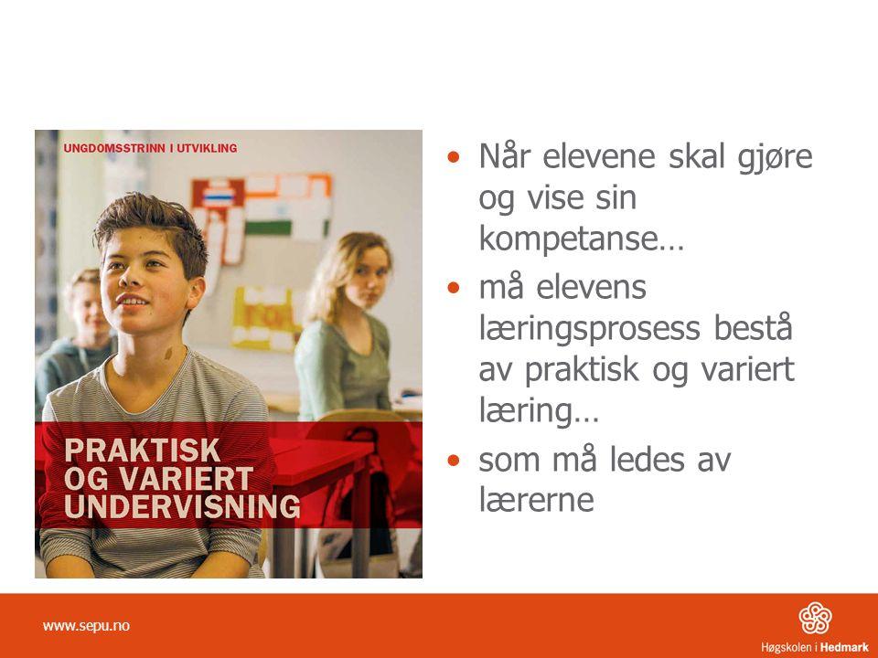 Når elevene skal gjøre og vise sin kompetanse… må elevens læringsprosess bestå av praktisk og variert læring… som må ledes av lærerne www.sepu.no