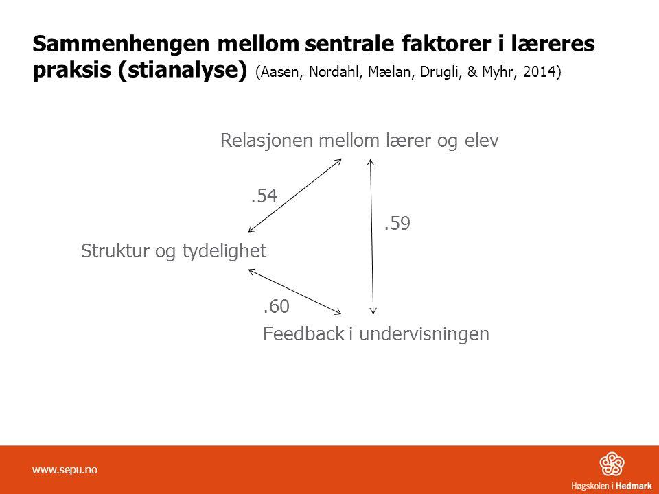 Sammenhengen mellom sentrale faktorer i læreres praksis (stianalyse) (Aasen, Nordahl, Mælan, Drugli, & Myhr, 2014) Relasjonen mellom lærer og elev.54.59 Struktur og tydelighet.60 Feedback i undervisningen www.sepu.no