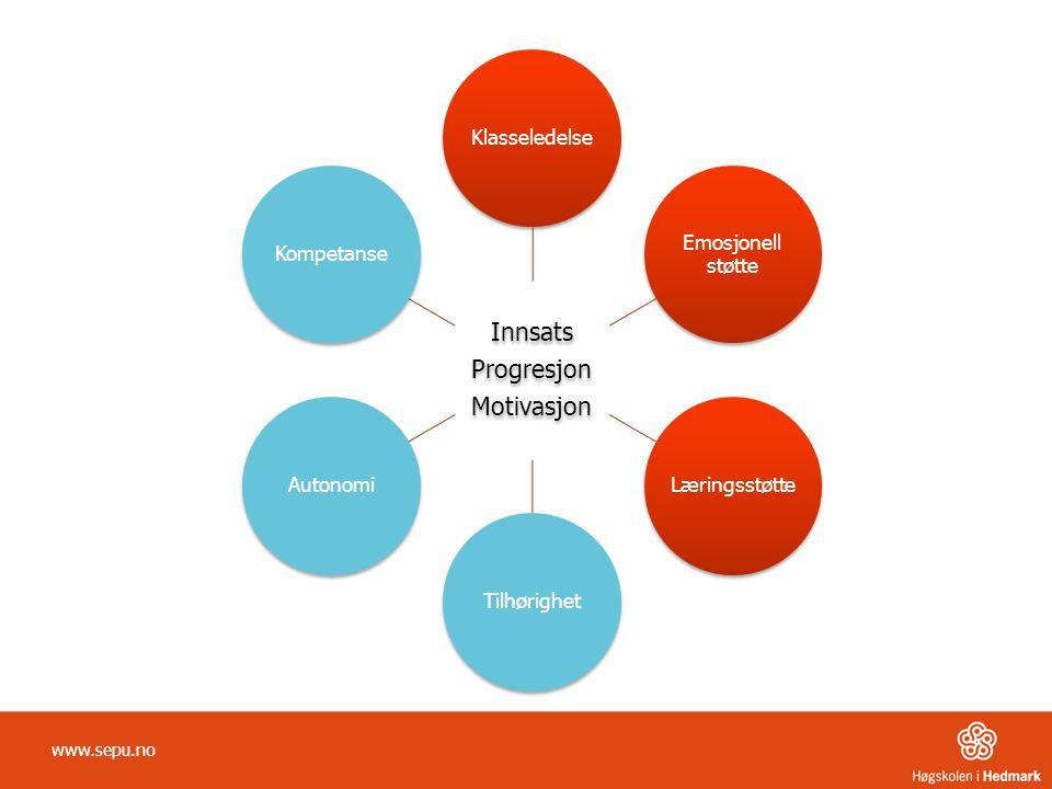 Innsats Progresjon Motivasjon Klasseledelse Emosjonell støtte LæringsstøtteTilhørighetAutonomiKompetanse www.sepu.no