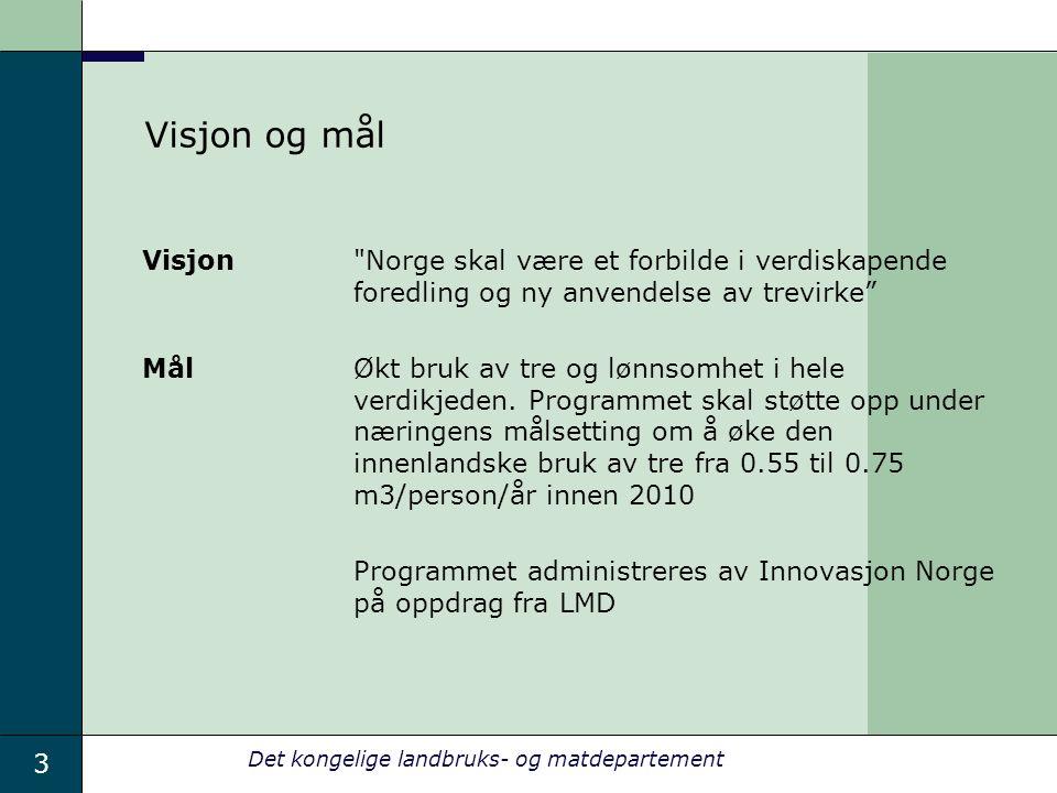 3 Det kongelige landbruks- og matdepartement Visjon og mål Visjon Norge skal være et forbilde i verdiskapende foredling og ny anvendelse av trevirke Mål Økt bruk av tre og lønnsomhet i hele verdikjeden.