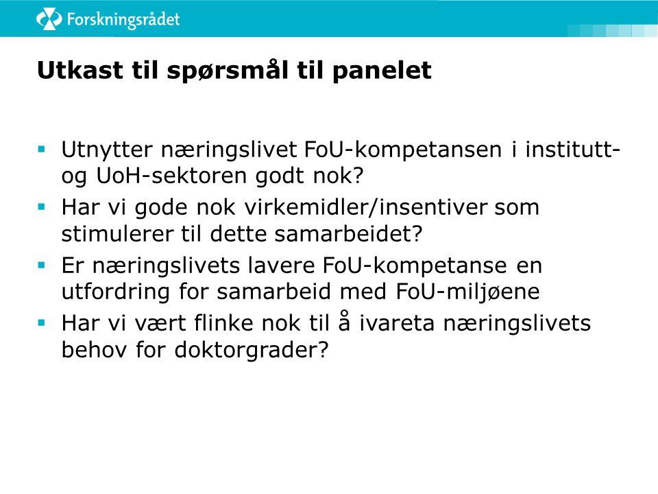 Utkast til spørsmål til panelet  Utnytter næringslivet FoU-kompetansen i institutt- og UoH-sektoren godt nok.