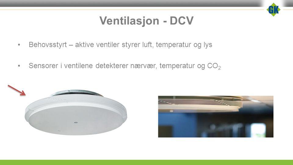 Ventilasjon - DCV Behovsstyrt – aktive ventiler styrer luft, temperatur og lys Sensorer i ventilene detekterer nærvær, temperatur og CO 2