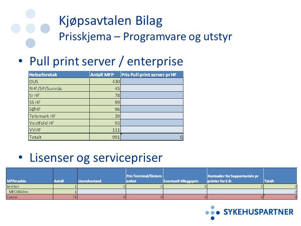 Kjøpsavtalen Bilag Prisskjema – Programvare og utstyr Pull print server / enterprise Lisenser og servicepriser
