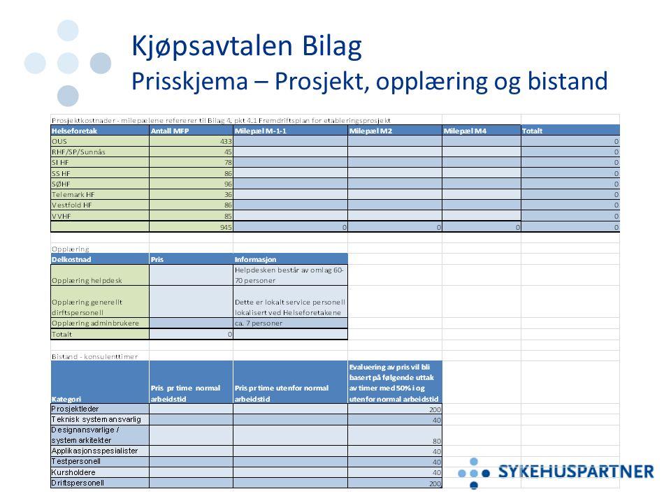 Kjøpsavtalen Bilag Prisskjema – Prosjekt, opplæring og bistand