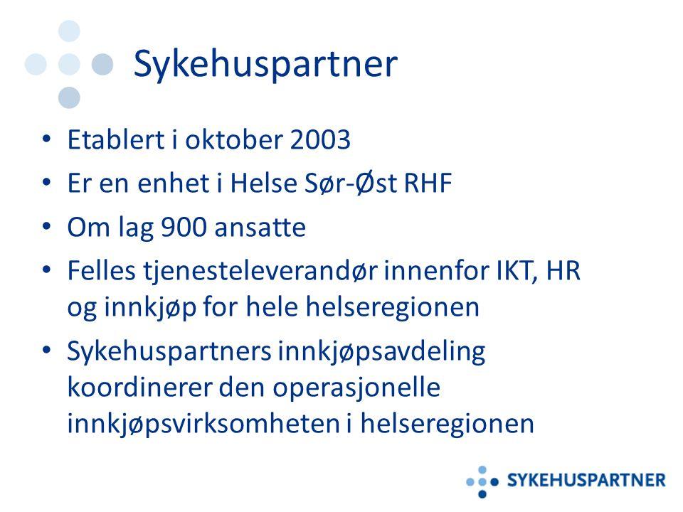 Sykehuspartner Etablert i oktober 2003 Er en enhet i Helse Sør-Øst RHF Om lag 900 ansatte Felles tjenesteleverandør innenfor IKT, HR og innkjøp for hele helseregionen Sykehuspartners innkjøpsavdeling koordinerer den operasjonelle innkjøpsvirksomheten i helseregionen