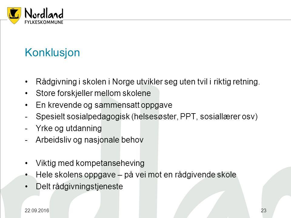 22.09.201623 Konklusjon Rådgivning i skolen i Norge utvikler seg uten tvil i riktig retning. Store forskjeller mellom skolene En krevende og sammensat