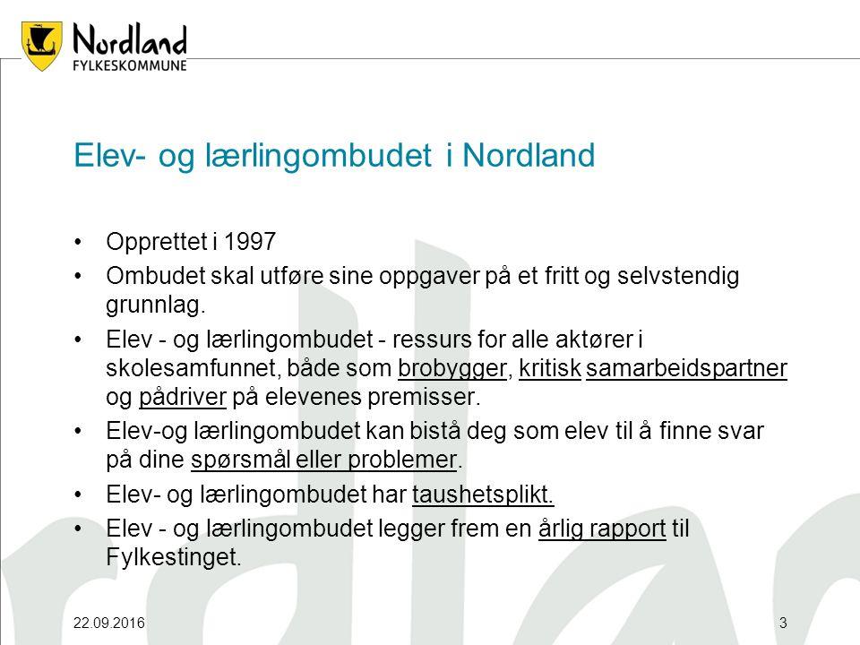 22.09.20163 Opprettet i 1997 Ombudet skal utføre sine oppgaver på et fritt og selvstendig grunnlag. Elev - og lærlingombudet - ressurs for alle aktøre