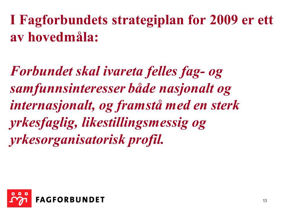 13 I Fagforbundets strategiplan for 2009 er ett av hovedmåla: Forbundet skal ivareta felles fag- og samfunnsinteresser både nasjonalt og internasjonalt, og framstå med en sterk yrkesfaglig, likestillingsmessig og yrkesorganisatorisk profil.