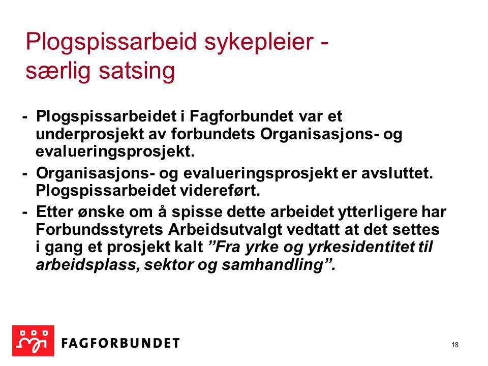 18 Plogspissarbeid sykepleier - særlig satsing - Plogspissarbeidet i Fagforbundet var et underprosjekt av forbundets Organisasjons- og evalueringsprosjekt.