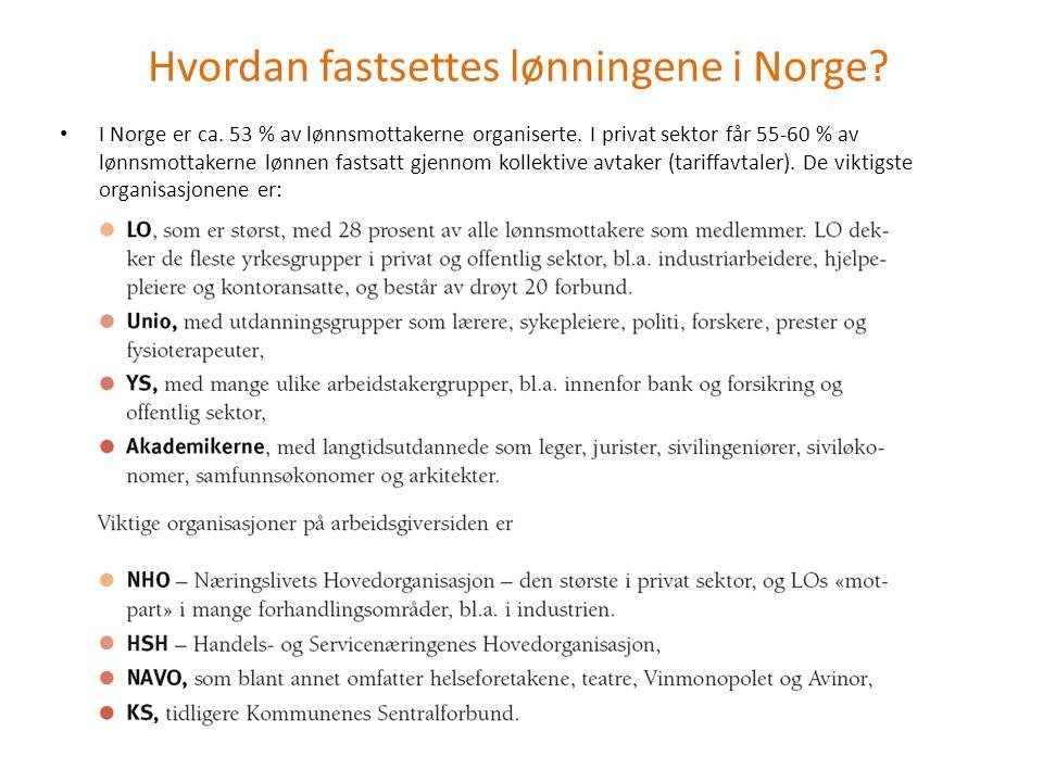 Hvordan fastsettes lønningene i Norge? I Norge er ca. 53 % av lønnsmottakerne organiserte. I privat sektor får 55-60 % av lønnsmottakerne lønnen fasts