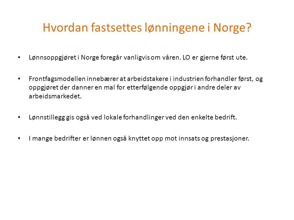 Lønnsoppgjøret i Norge foregår vanligvis om våren. LO er gjerne først ute. Frontfagsmodellen innebærer at arbeidstakere i industrien forhandler først,