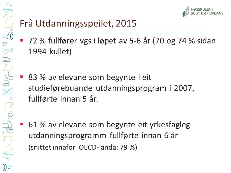 Frå Utdanningsspeilet, 2015  72 % fullfører vgs i løpet av 5-6 år (70 og 74 % sidan 1994-kullet)  83 % av elevane som begynte i eit studieførebuande utdanningsprogram i 2007, fullførte innan 5 år.