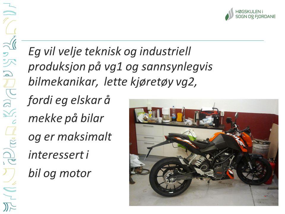 Eg vil velje teknisk og industriell produksjon på vg1 og sannsynlegvis bilmekanikar, lette kjøretøy vg2, fordi eg elskar å mekke på bilar og er maksimalt interessert i bil og motor