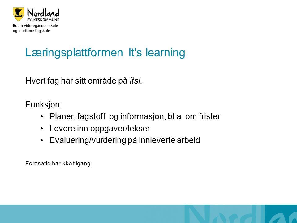 Læringsplattformen It s learning Hvert fag har sitt område på itsl.