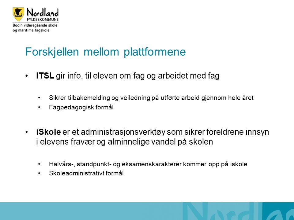 Forskjellen mellom plattformene ITSL gir info.