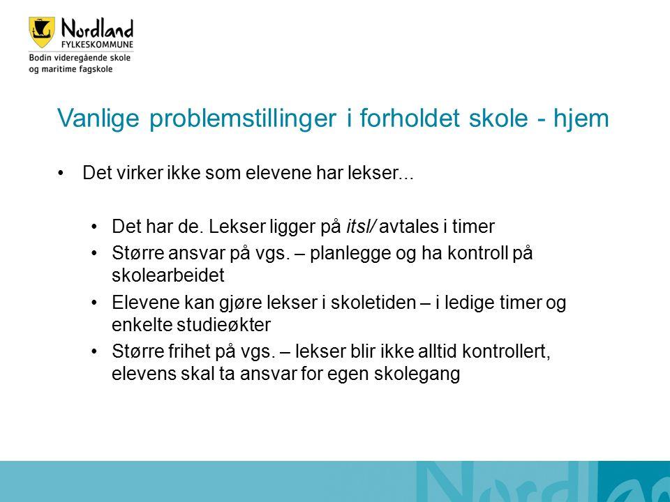 Vanlige problemstillinger i forholdet skole - hjem Det virker ikke som elevene har lekser...