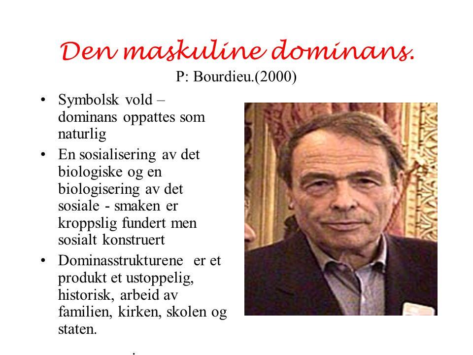 Den maskuline dominans. P: Bourdieu.(2000) Symbolsk vold – dominans oppattes som naturlig En sosialisering av det biologiske og en biologisering av de