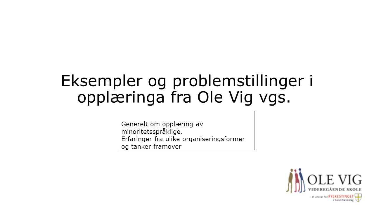 Eksempler og problemstillinger i opplæringa fra Ole Vig vgs.
