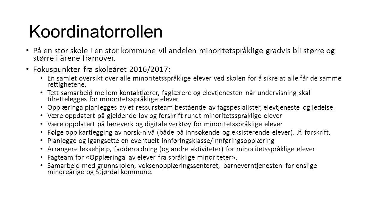 Koordinatorrollen På en stor skole i en stor kommune vil andelen minoritetspråklige gradvis bli større og større i årene framover.