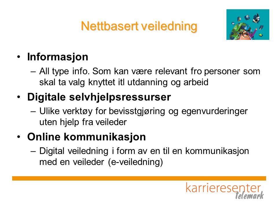 Nettbasert veiledning Informasjon –All type info. Som kan være relevant fro personer som skal ta valg knyttet itl utdanning og arbeid Digitale selvhje