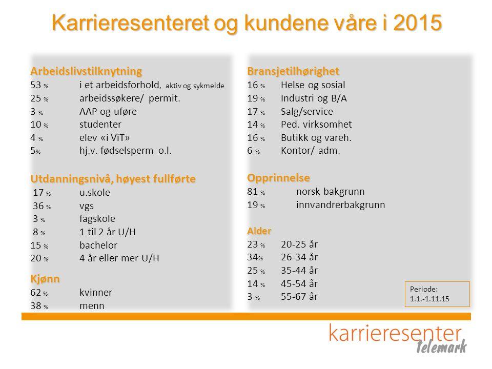 Karrieresenteret og kundene våre i 2015 Arbeidslivstilknytning 53 % i et arbeidsforhold, aktiv og sykmelde 25 % arbeidssøkere/ permit. 3 % AAP og ufør