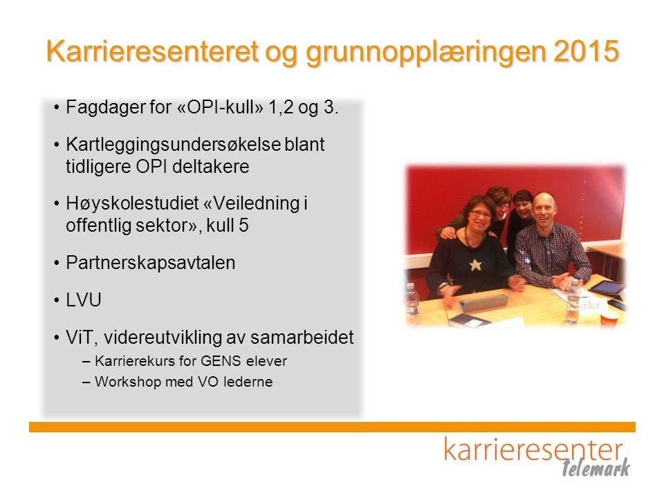 Karrieresenteret og grunnopplæringen 2015 Fagdager for «OPI-kull» 1,2 og 3. Kartleggingsundersøkelse blant tidligere OPI deltakere Høyskolestudiet «Ve