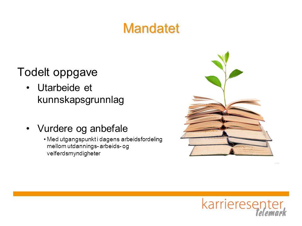 Mandatet Todelt oppgave Utarbeide et kunnskapsgrunnlag Vurdere og anbefale Med utgangspunkt i dagens arbeidsfordeling mellom utdannings- arbeids- og v