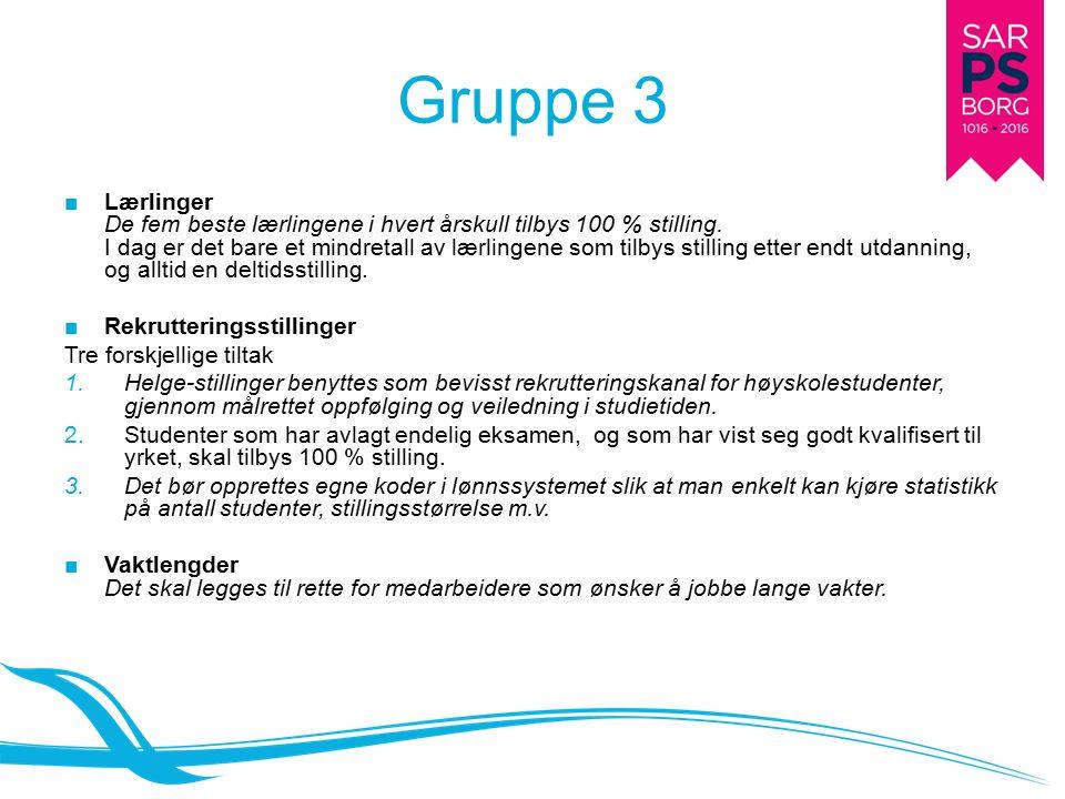 Gruppe 3 ■Lærlinger De fem beste lærlingene i hvert årskull tilbys 100 % stilling.