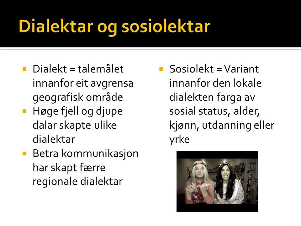  Dialekt = talemålet innanfor eit avgrensa geografisk område  Høge fjell og djupe dalar skapte ulike dialektar  Betra kommunikasjon har skapt færre regionale dialektar  Sosiolekt = Variant innanfor den lokale dialekten farga av sosial status, alder, kjønn, utdanning eller yrke
