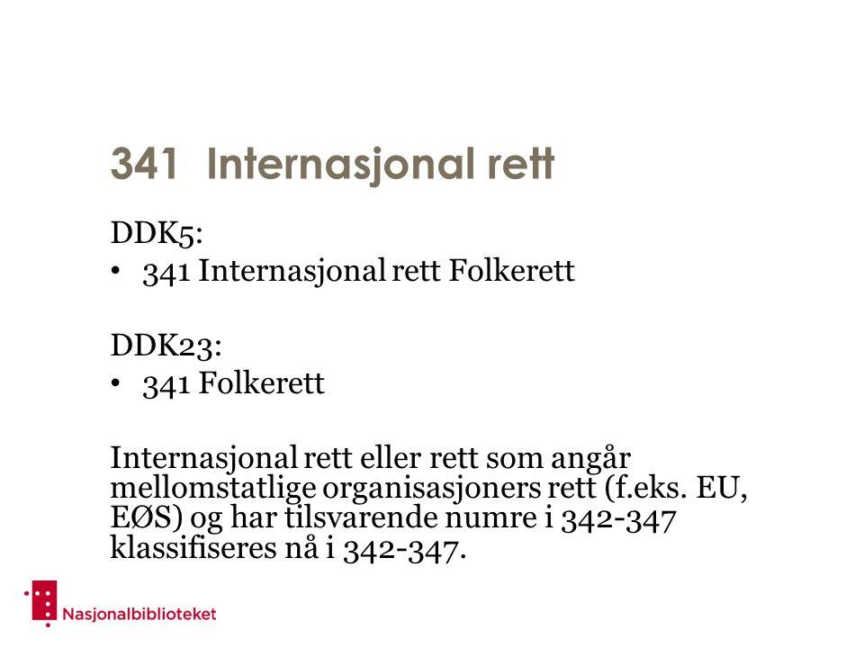 341 Internasjonal rett DDK5: 341 Internasjonal rett Folkerett DDK23: 341 Folkerett Internasjonal rett eller rett som angår mellomstatlige organisasjoners rett (f.eks.