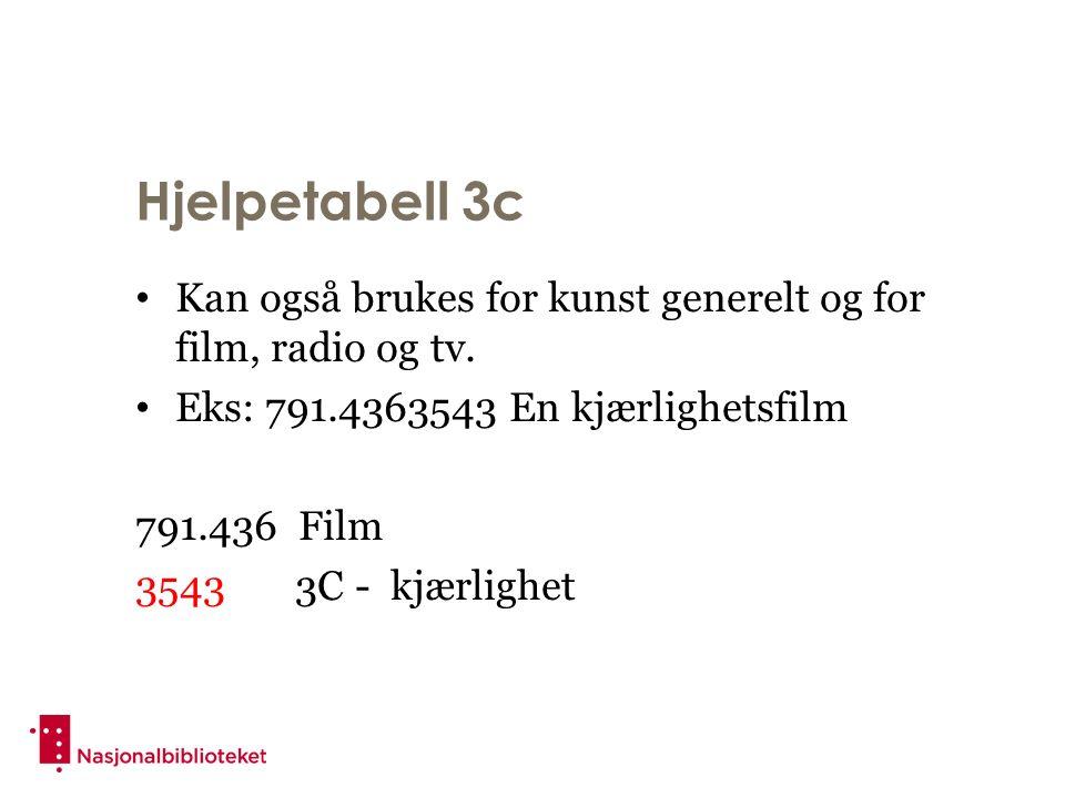 Hjelpetabell 3c Kan også brukes for kunst generelt og for film, radio og tv.