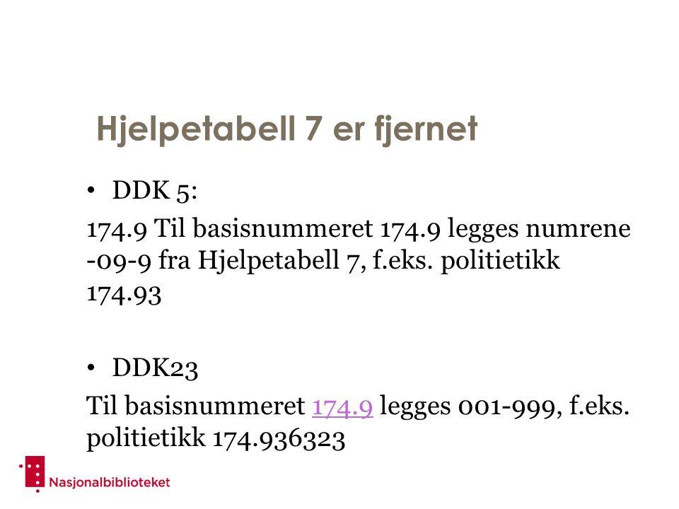 Hjelpetabell 7 er fjernet DDK 5: 174.9 Til basisnummeret 174.9 legges numrene -09-9 fra Hjelpetabell 7, f.eks.