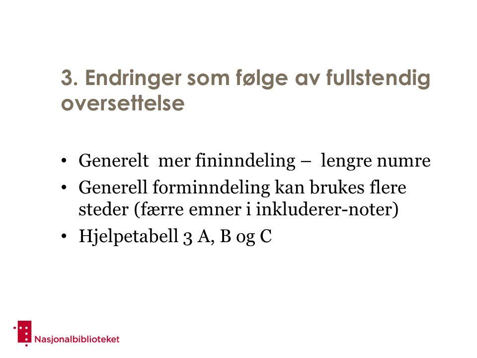 3. Endringer som følge av fullstendig oversettelse Generelt mer fininndeling – lengre numre Generell forminndeling kan brukes flere steder (færre emne