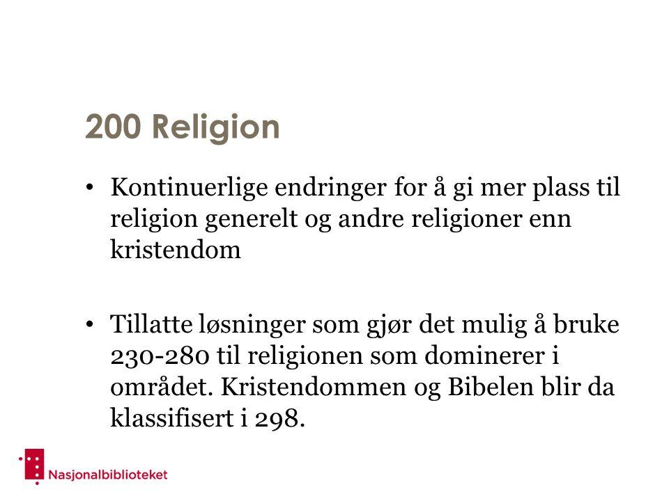 200 Religion Kontinuerlige endringer for å gi mer plass til religion generelt og andre religioner enn kristendom Tillatte løsninger som gjør det mulig å bruke 230-280 til religionen som dominerer i området.